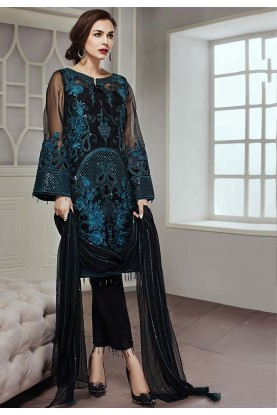 Black Colour Embroidery Salwar Suit.