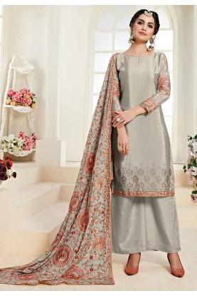 Grey Colour Palazzo Salwar Suit.