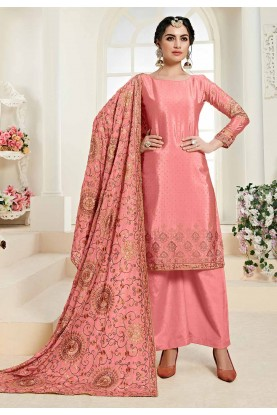 Designer Pink Colour Chinon Fabric Salwar Kameez.