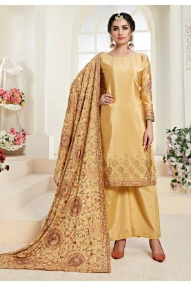 Yellow Colour Party Wear Salwar Suit.