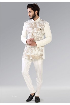 Buy Designer Suits for Men Dashing White,Golden Color Jodhpuri Suit
