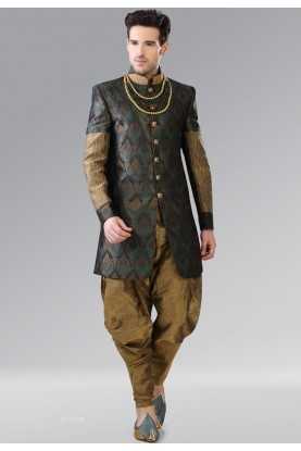 Green,Golden Color Brocade Men's Indo Western