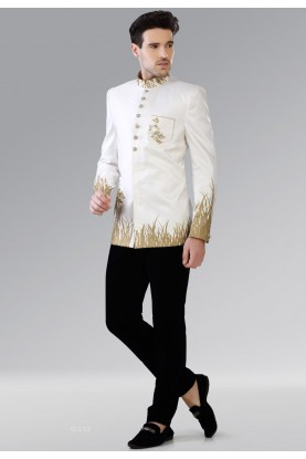Bandhgala unique white, beige color Jodhpuri Suit for Mens Online USA