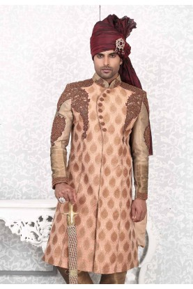 Adorable Orange Color & Brocade Fabric Men`S Wear