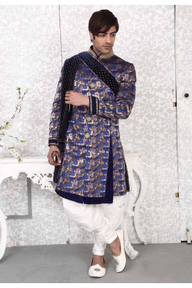 Velvet,Brocade Fabric Royal Blue Men's Indo Western