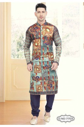 Multi Colour Printed Indian kurta pajama for mens