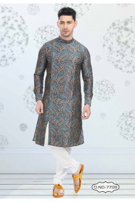 Buy kurta pyjama online in Blue Colour Printed Kurta Pajama