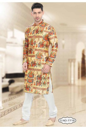 Buy kurta pyjama online in Yellow Colour Readymade Kurta Pajama