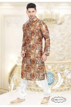 Buy kurta pyjama online in Brown,Golden Colour Readymade Kurta Pyjama