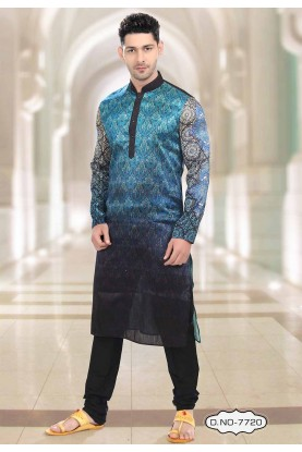 Buy kurta pyjama online in Blue,Black Colour Party Wear Kurta