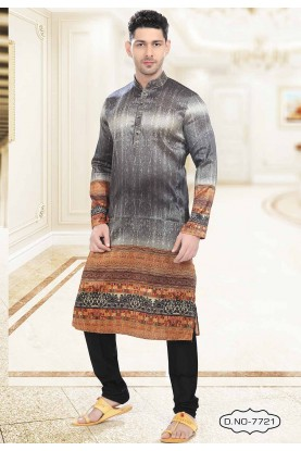 Buy kurta pyjama online in Grey,Orange Colour Printed Kurta Pajama.