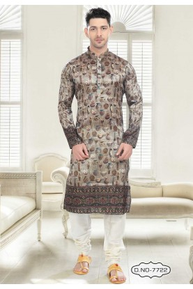 Buy kurta pyjama online in Grey Colour Printed Kurta Pajama