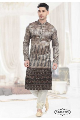 Buy kurta pyjama online in Grey,Black Colour Printed Kurta Pajama