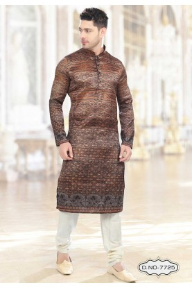 Buy kurta pyjama online in Brown,Orange Colour Kurta Pajama