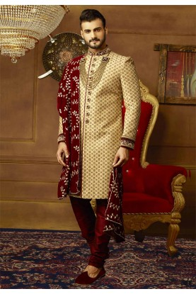 Golden Color Groom Sherwani.