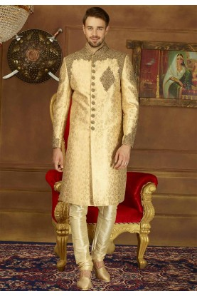 Beige Color Brocade Silk Sherwani.