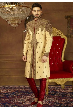 Beige Color Indian Wedding Sherwani.