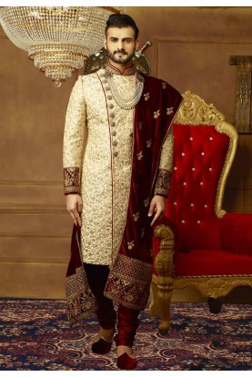 Golden Color Indian Wedding Sherwani.
