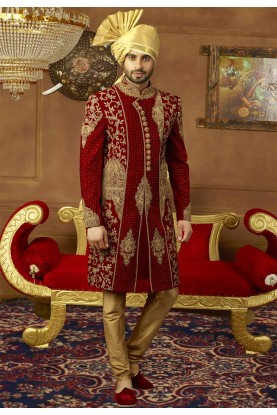Maroon Color Indian Designer Sherwani.