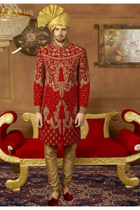 Red Color Men's Sherwani.