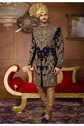 Blue Color Velvet Sherwani.