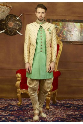 Beige,Green Color Men's Indowestern.