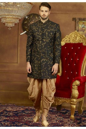 Black Color Party Wear Men's Indowestern.