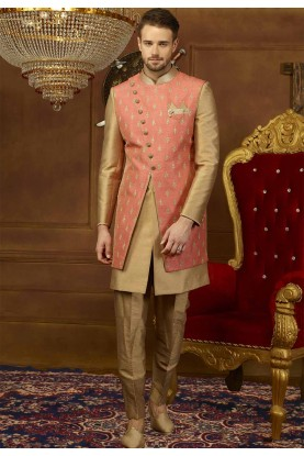 Peach,Golden Color Designer Sherwani.