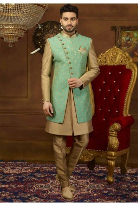 Green,Golden Color Men's Indowestern.