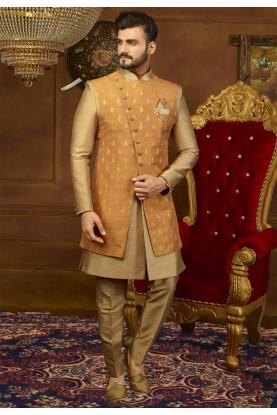 Rust,Golden Color Men's Indowestern.