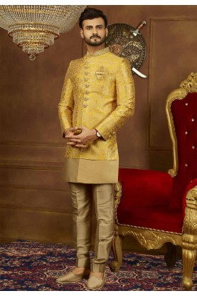 Yellow Color Men's Indowestern.