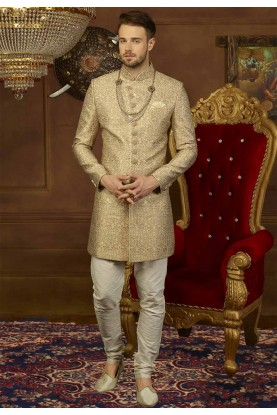 Golden Color Men's Indowestern.
