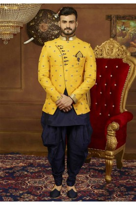 Yellow Color Banarasi Silk Men's Indowestern.