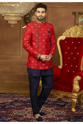 Buy designer party wear suits for men in red color