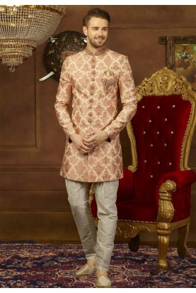 Peach Color Designer Indo western suit for mens