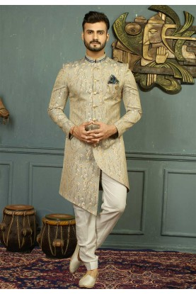 Grey,Golden Color Indo western suits for men's