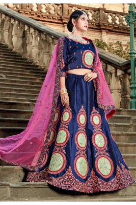 Blue Color Party Wear Lehenga.