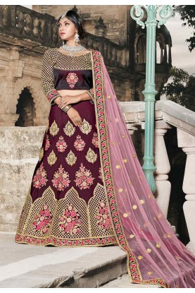 Wine Color Indian Designer Lehenga.