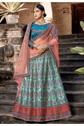 Blue Color Lehenga Choli.