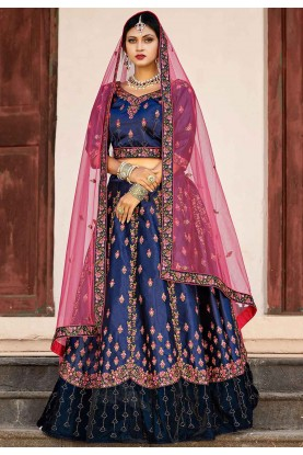 Blue Color Engagement Lehenga.