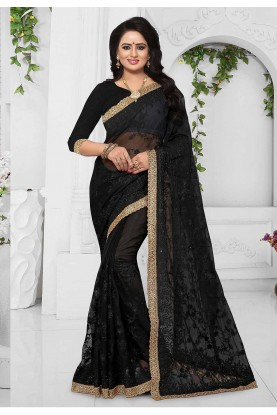 Black Color Party Wear Saree Online