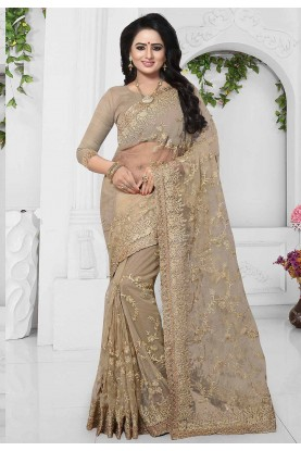 Brown Color Net Cheap Saree Online USA