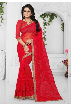 Buy Red Color Indian Wedding Saree Online
