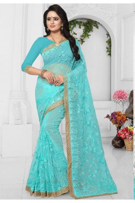 Buy Turquoise Color Cheap Saree Online USA