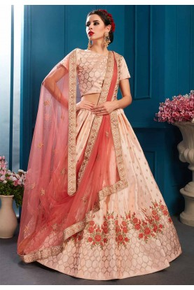 Peach Colour Lehenga Choli.