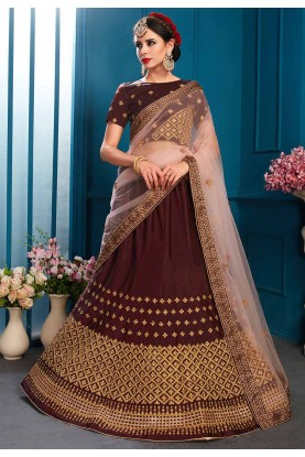 Brown Colour Wedding Lehenga .
