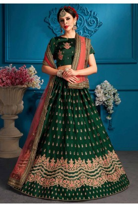 Green Colour Traditional Lehenga Choli.