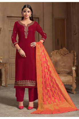Red Colour Party Wear Palazzo Suit.