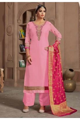 Pink Colour Palazzo Salwar Suit.