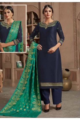 Blue Colour Party Wear Palazzo Suit.